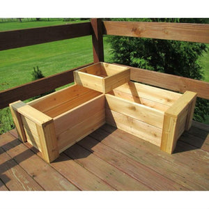 Heavy Duty Rot-Resistant Cedar 2 Level L-Shaped Planter Made in USA
