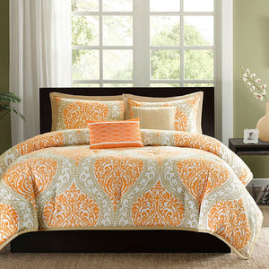 King size 5-Piece Comforter Set in Orange Damask Print