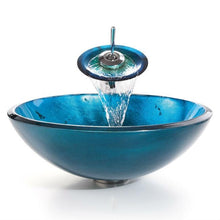 Load image into Gallery viewer, Round Blue Tempered Glass Vessel Bathroom Sink