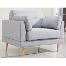 Load image into Gallery viewer, Modern Light Grey Linen Upholstered Armchair with Mid-Century Style Wood Legs