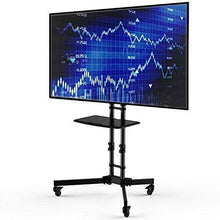 Load image into Gallery viewer, Adjustable Height Mobile TV Cart TV Stand for up to 65-inch TV