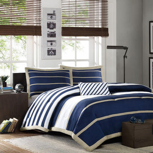 Full / Queen size Comforter Set in Navy Blue White Khaki Stripe