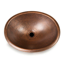 Load image into Gallery viewer, Hammered Copper Oval Bathroom Sink Vessel 17 x 13 inch