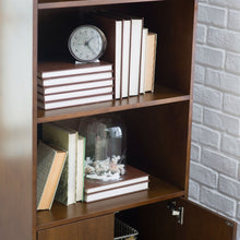 Load image into Gallery viewer, Modern Classic Mid-Century Style Bookcase Cabinet in Wallnut Wood Finish