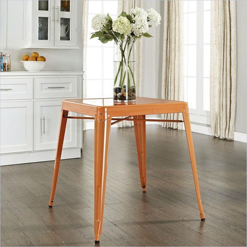 Mid Century French Cafe Style Metal Dining Table in Orange
