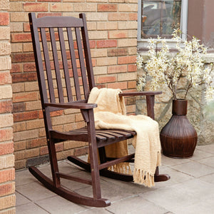 Indoor/Outdoor Patio Porch Dark Brown Slat Rocking Chair