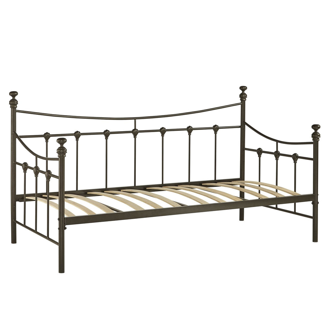 Twin size Metal Daybed in Bronze Finish with Wooden Slats