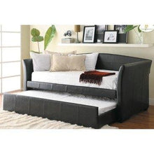 Load image into Gallery viewer, Twin size Dark Brown Faux Leather Daybed with Trundle Bed