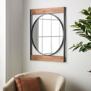 Modern Square Frame Industrial Metal Circle Wall Mirror