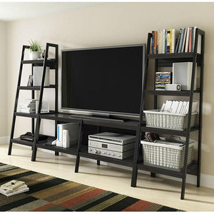 Modern 60-inch Ladder Style TV Stand in Black Finish