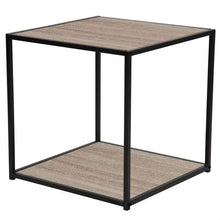 Load image into Gallery viewer, Modern Metal and Wood End Table Nightstand with Bottom Shelf