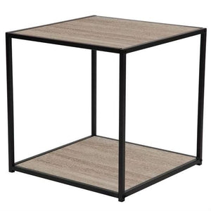 Modern Metal and Wood End Table Nightstand with Bottom Shelf