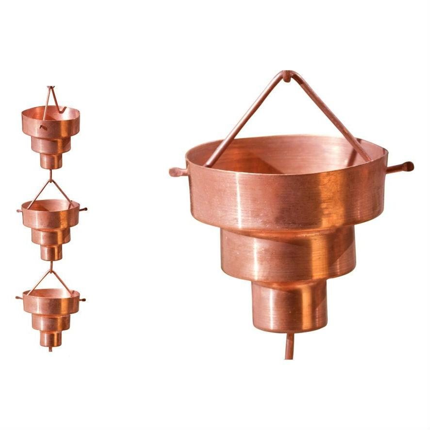 Pure Copper 8.5 Ft Rain Chain Stepped Cups Rainwater Downspout