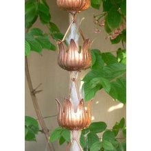 Load image into Gallery viewer, Copper 8.5 Ft Flower Cups Rain Chain Gutter Rainwater Downspout