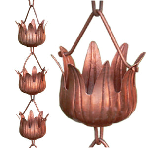 Copper 8.5 Ft Flower Cups Rain Chain Gutter Rainwater Downspout