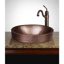 Load image into Gallery viewer, Oval Hammered Copper Bathroom Sink Drop-in or Vessel