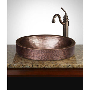 Oval Hammered Copper Bathroom Sink Drop-in or Vessel