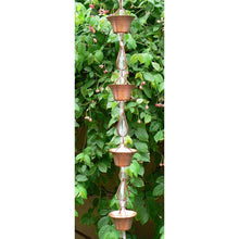 Load image into Gallery viewer, Pure Copper 8.5-Ft Rain Chain with 10 Round Cups and Teardrop Chain-Links