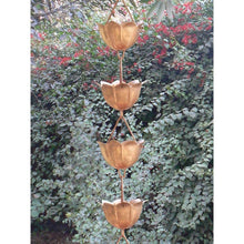 Load image into Gallery viewer, Lotus Flower 8.5-Ft Pure Copper Rain Chain for Rainwater Downspout