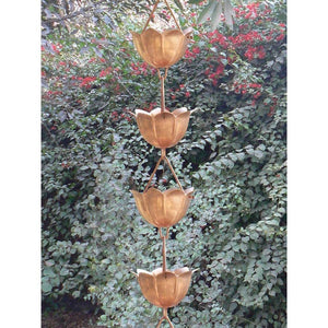 Lotus Flower 8.5-Ft Pure Copper Rain Chain for Rainwater Downspout