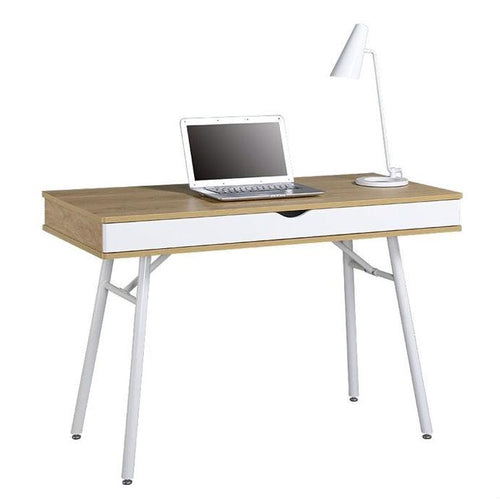 Modern Heavy Duty Laptop Computer Desk with Storage Drawer in Pine Wood Finish