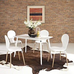 Modern Mid-Century Style Dining Table in White with Wood Legs
