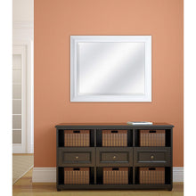Load image into Gallery viewer, Rectangular 32 x 26 inch Bathroom Wall Mirror with 1-inch Bevel and White Frame
