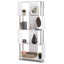 Load image into Gallery viewer, Modern 4-Shelf Metal Frame Bookcase in White Wood Finish