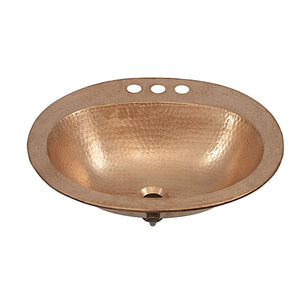 Oval 20 x 17 inch Drop-in Solid Copper Bathroom Sink