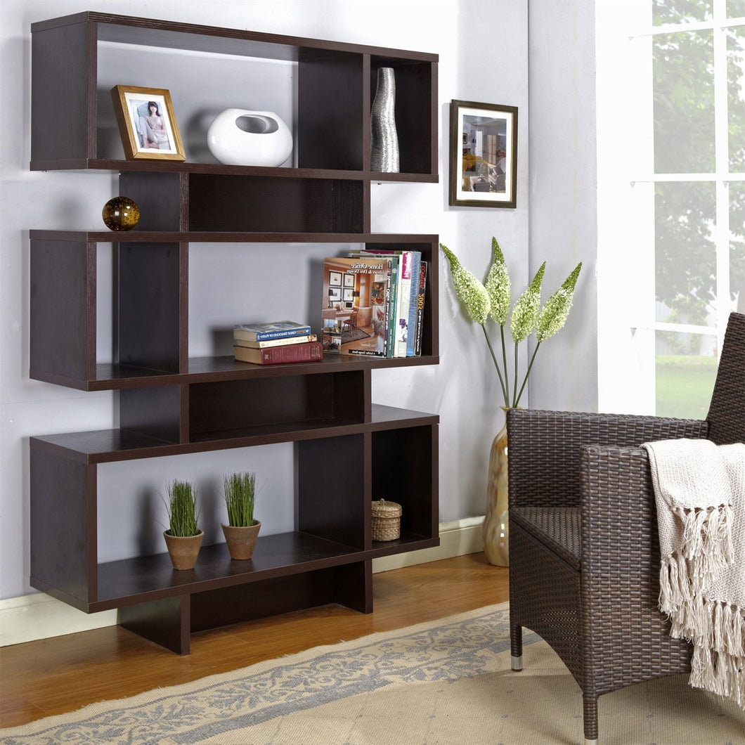 Modern 63-inch high Bookcase Geometric  Display Shelf in Espresso Wood Finish