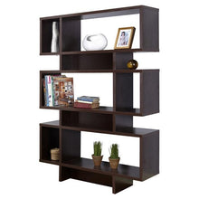 Load image into Gallery viewer, Modern 63-inch high Bookcase Geometric  Display Shelf in Espresso Wood Finish