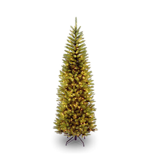 6.5 Foot Narrow Slim Fir Christmas Tree Pre-strug 250 Clear Lights and Stand