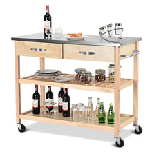 Load image into Gallery viewer, Natural Wood Modern Kitchen Island Cart with Stainless Steel Top
