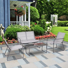 Load image into Gallery viewer, Outdoor Black Steel Frame 4-Piece Patio Furniture Set