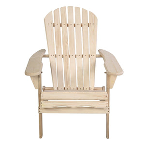 Unfinished Wood Folding Adirondack Chair Outdoor Garden Patio