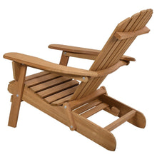 Load image into Gallery viewer, Folding Wood Adirondack Chair with Pull-Out Foot Rest Ottoman
