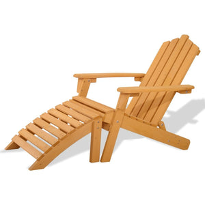 Folding Wooden Adirondack Chair with Foot Rest Ottoman