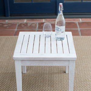 Outdoor Garden Deck Patio Side Table in White Wood Finish