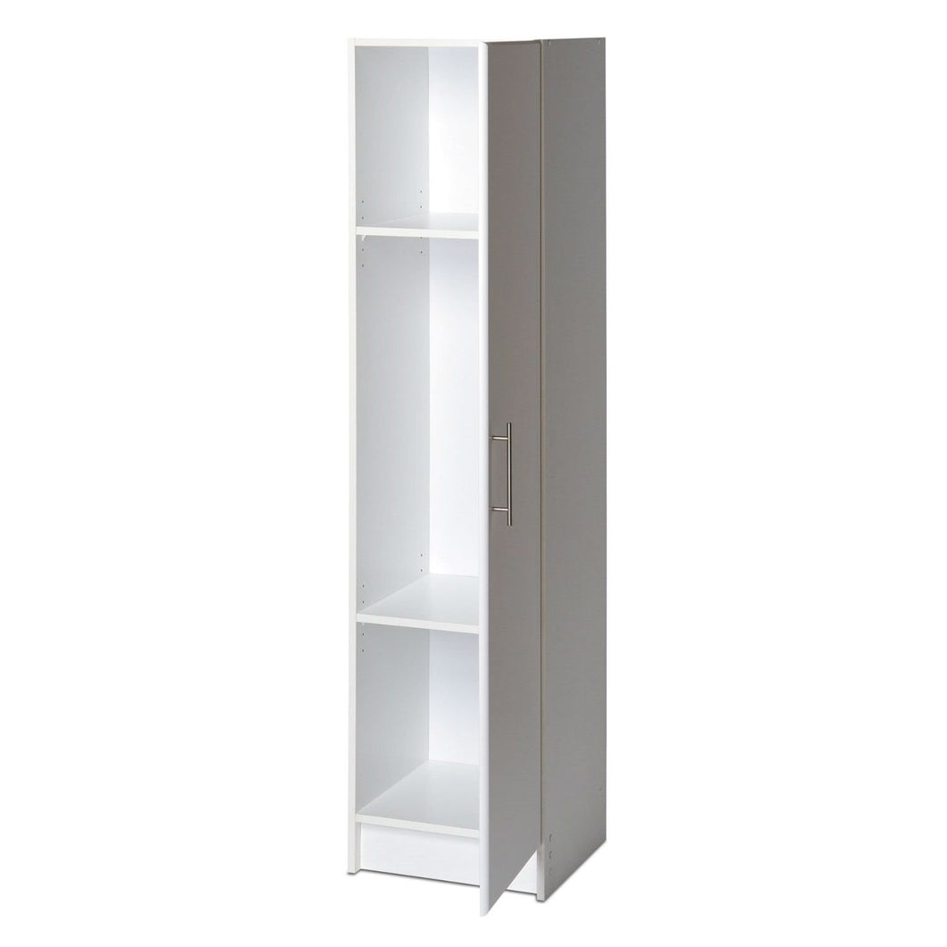 White Tall Storage Cabinet for Brooms and Mops