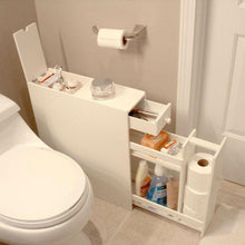 Load image into Gallery viewer, Space Saving Bathroom Floor Cabinet in White Wood Finish