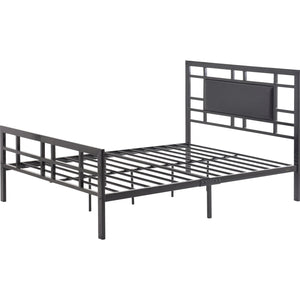Queen size Black Metal Platform Bed Frame with Upholstered Headboard