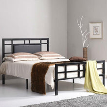 Load image into Gallery viewer, Queen size Black Metal Platform Bed Frame with Upholstered Headboard