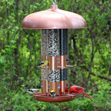 Load image into Gallery viewer, Copper Finish Triple Tube Bird Feeder