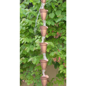 Pure Copper 8.5 Ft Rain Chain with 17 Bell Cups