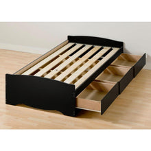 Load image into Gallery viewer, Twin XL Platform Bed Frame with 3 Storage Drawers in Black