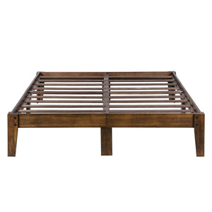 Full size Solid Wood Platform Bed Frame in Brown Natural Finish