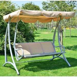 Sturdy 3-Person Outdoor Patio Porch Canopy Swing in Sand Color
