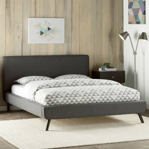 Queen size Mid-Century Platform Bed Frame with Gray Upholstered Headboard