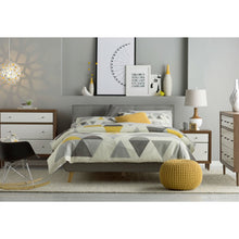 Load image into Gallery viewer, Queen Mid-Century Grey Upholstered Platform Bed with Button-Tufted Headboard