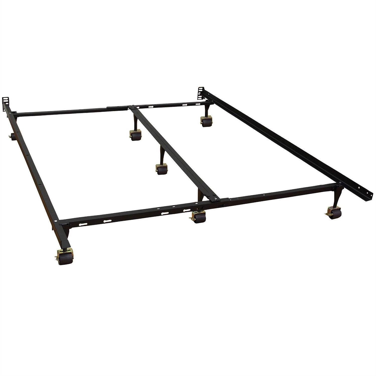 Image of: Queen Size Heavy Duty 7 Leg Metal Bed Frame With Locking Rug Roller Ca Shabbyliving